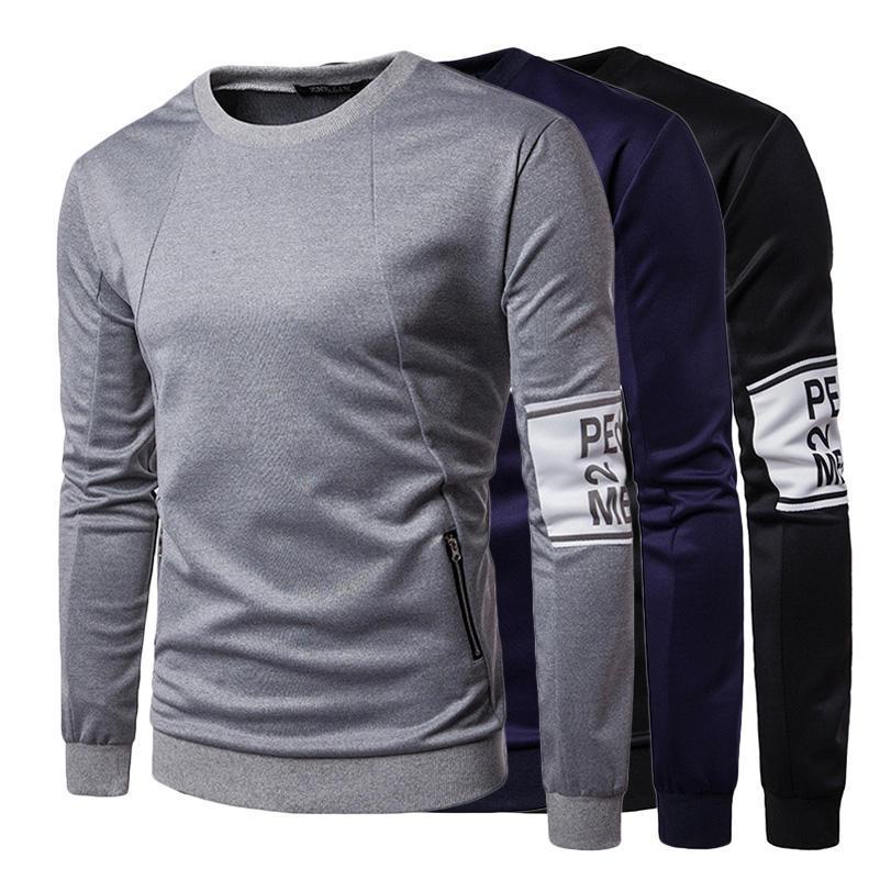 02c6378c7cf Barbati moda pulover jachete Fitness haine laterale fermoar cu ...