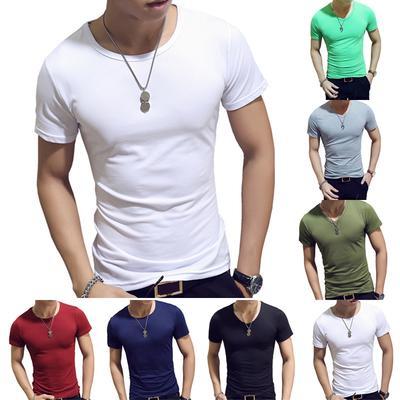 ffd20aa5fed9af Summer Fitness Slim Fit Tight krótki rękaw Tee V Neck T-Shirt Męski T-