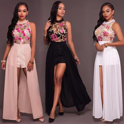 022039d0a461 Women Sexy Lace Mesh Embroidery Jumpsuit Romper Short Trousers Bodycon  Playsuit Long Maxi Dress