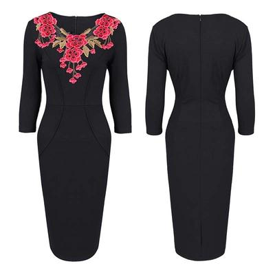 162b2ee0507b Женская мода вышивка вязание крючком v-образным вырезом Bodycon элегантный  коктейль платье партии