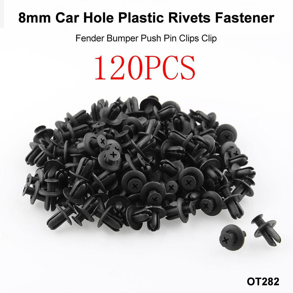 100 Pcs 8mm Car Hole Nylon Plastic Rivets Fastener Fender Bumper Push Pin Clips