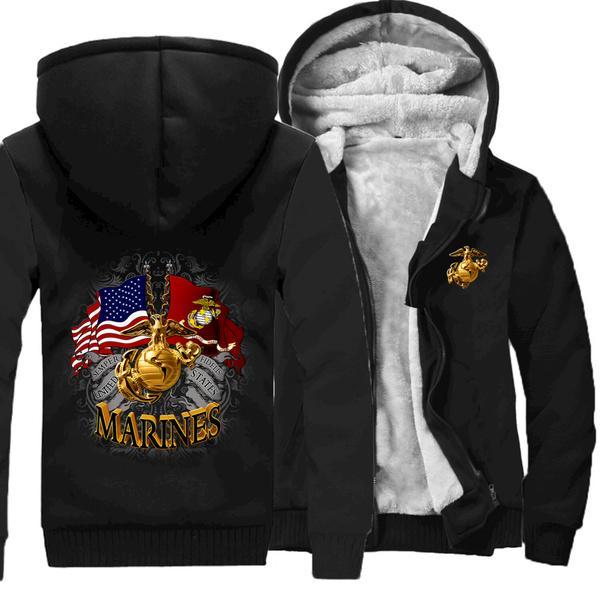 Marine Corps Men/'s Winter Thicken Hoodie Coat Warm Sweatshirt Zipper Coat