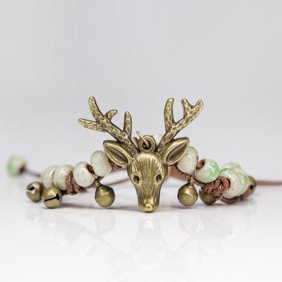 Fashion Deer Head Ceramic Beads Bracelet Women Handmade Ethnic Style Jewelry