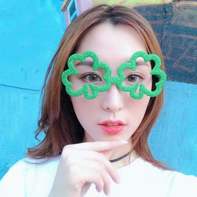 Apparel Accessories Funny Shamrock Design Sunglasses Creative Holiday Cosplay Costume Glasses Accessory Men's Eyewear Frames