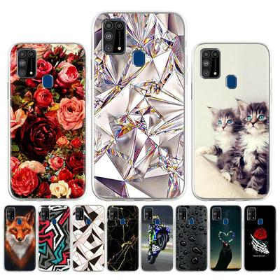 Soft Case for Samsung Galaxy M21 Case Silicone for Samsung Galaxy M30s SM-M307FN/DS SM-M307F/DS Cover Cute Cat Animal Flowers Phone Bumper