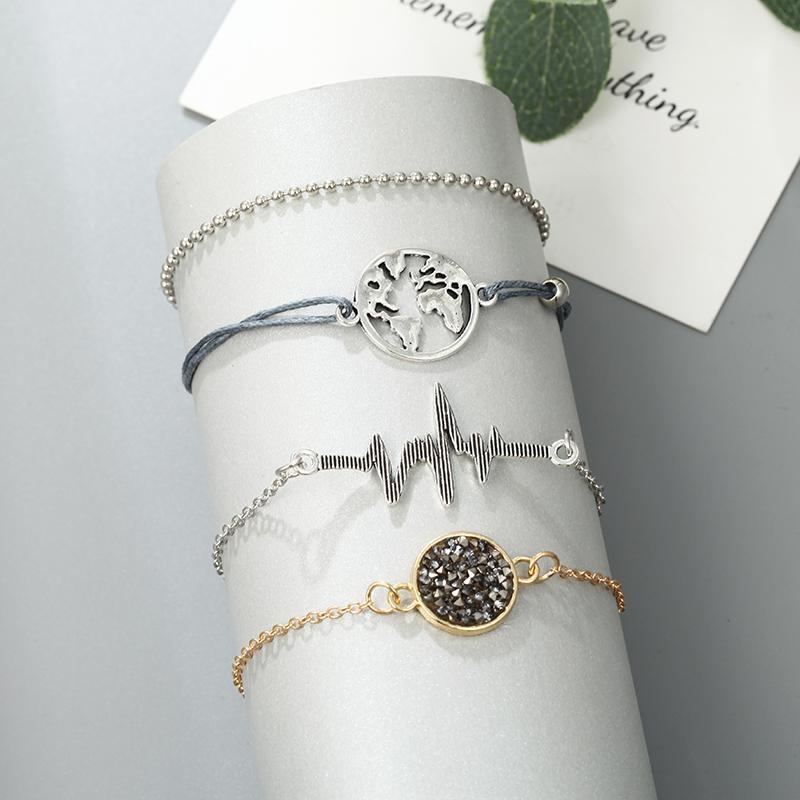 5 Pcs Charm World Map Bracelet for Women Fashion Heartbeat Electrocardiogram Round Stone Beads Love Heart Braceles Set for girls