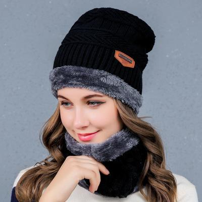 555a0525258 Fall Winter Fashion Set Hat Velvet Padded Hats Tide Scarf Mask Casual Warm  Men and HA13 Women. Buy · -71%