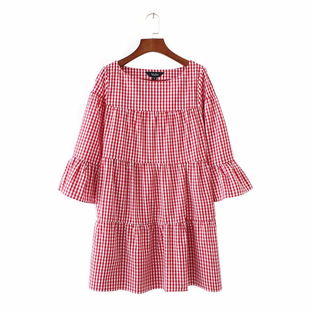 Vestidos de tela escocesa plisada manga elegante - comprar a precios ...