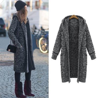 Hiver Occasionnels Gris Ouvert Femmes Lâche Fashion Chapeau Poncho Automne Avec Taille Manteau Longue Chaud We9bHY2EID