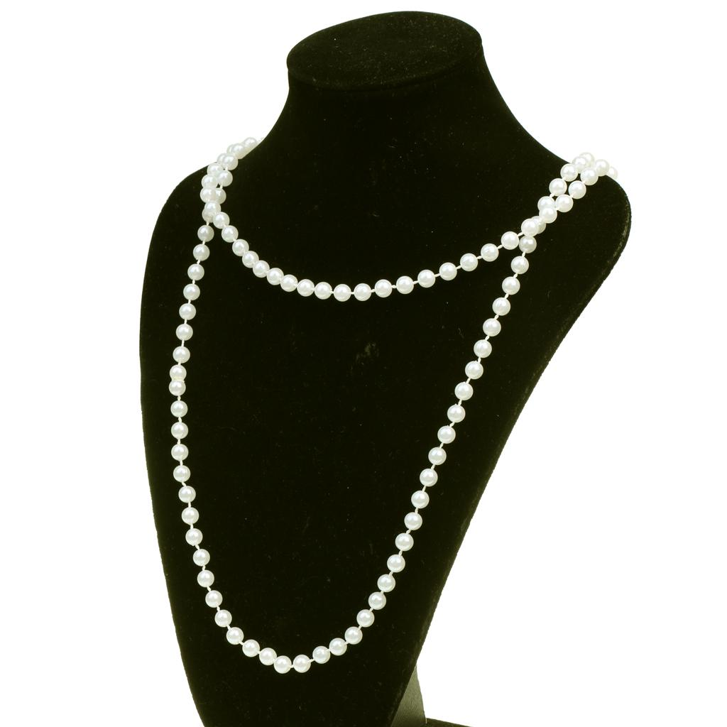 """Long Faux Pearl Bead Rope Necklace Bridal Prom 48/"""" in length Flapper style"""