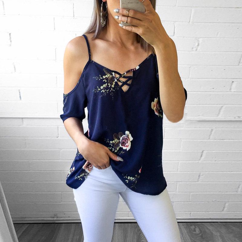 花卉性感聚酯吊带领口半袖女衬衫