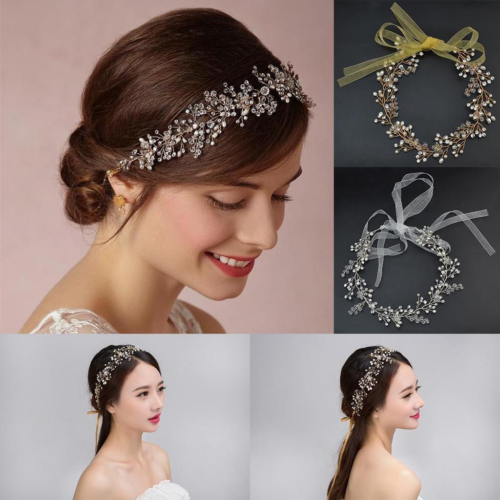 Mode Stirnband Kristall Hochzeit Braut Haar Schmuck Perlen Band Haar