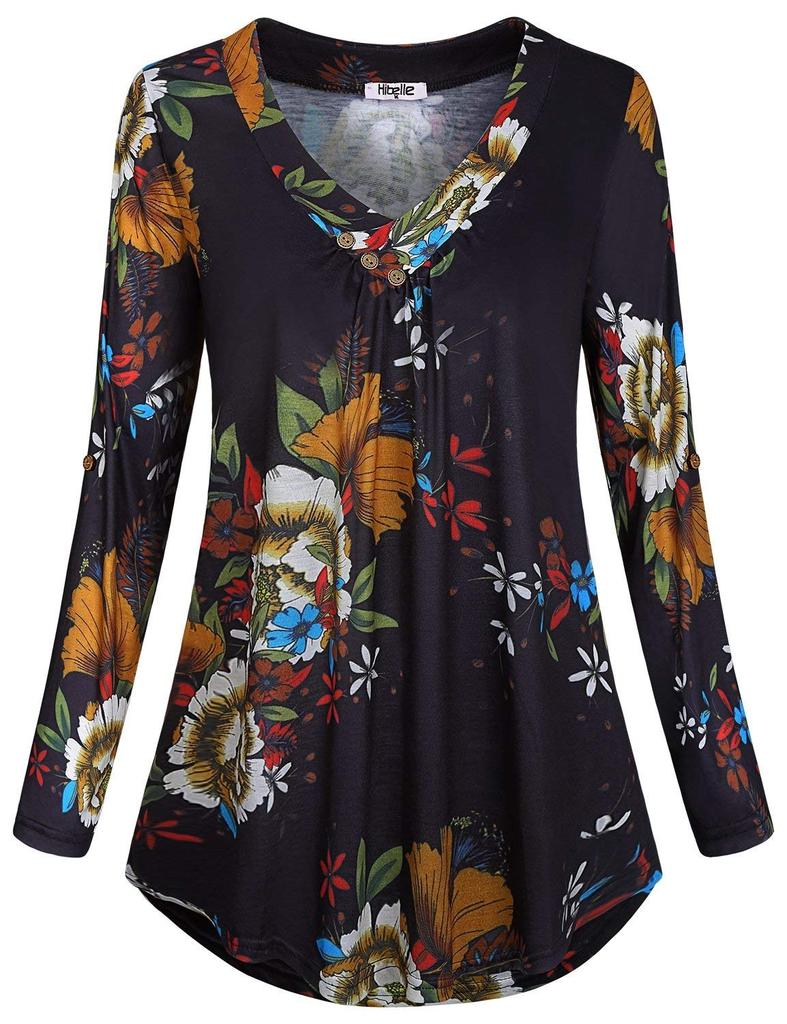 Plus Size Women/'s Loose Long Sleeve Floral Casual Blouse Shirt Tunic Tops Blouse