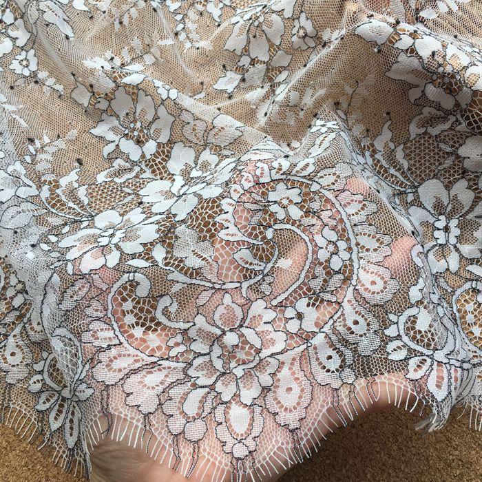 3 meters high quality white black eyelash mesh yarn  beautiful and unique lace fabric eyelash lace lace bridal wedding dress lace fabric