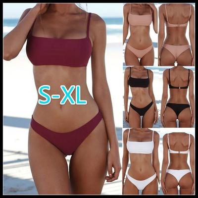a40a48f375d Women Solid Color Padded Bra G-string Thong Bikini Swimwear Two ...
