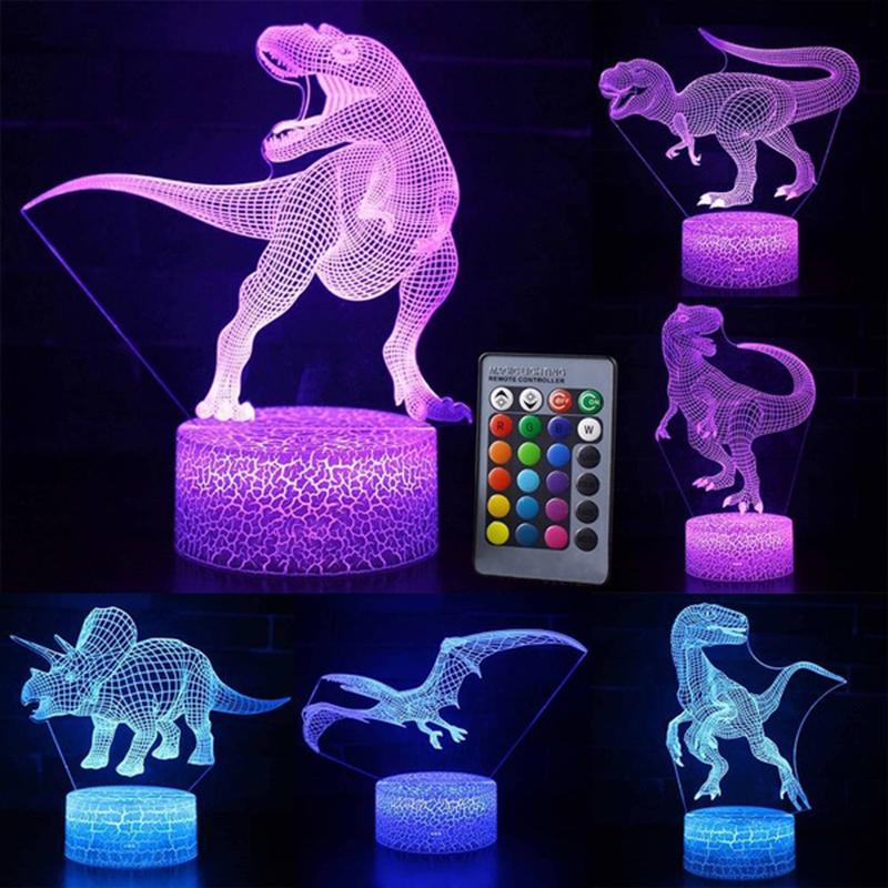 3D Animal Night Light 7 Color Remote Control Desk Lamp Kids Gifts Dinosaur//Bear