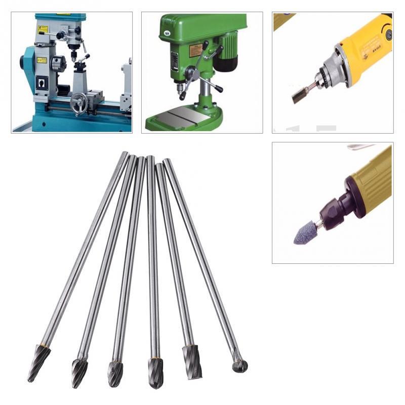 6pcs Tungsten Carbide Aluminum Rotary Files Burr Set 6mm Shank 10mm Cutting Diameter for Grinder Drill