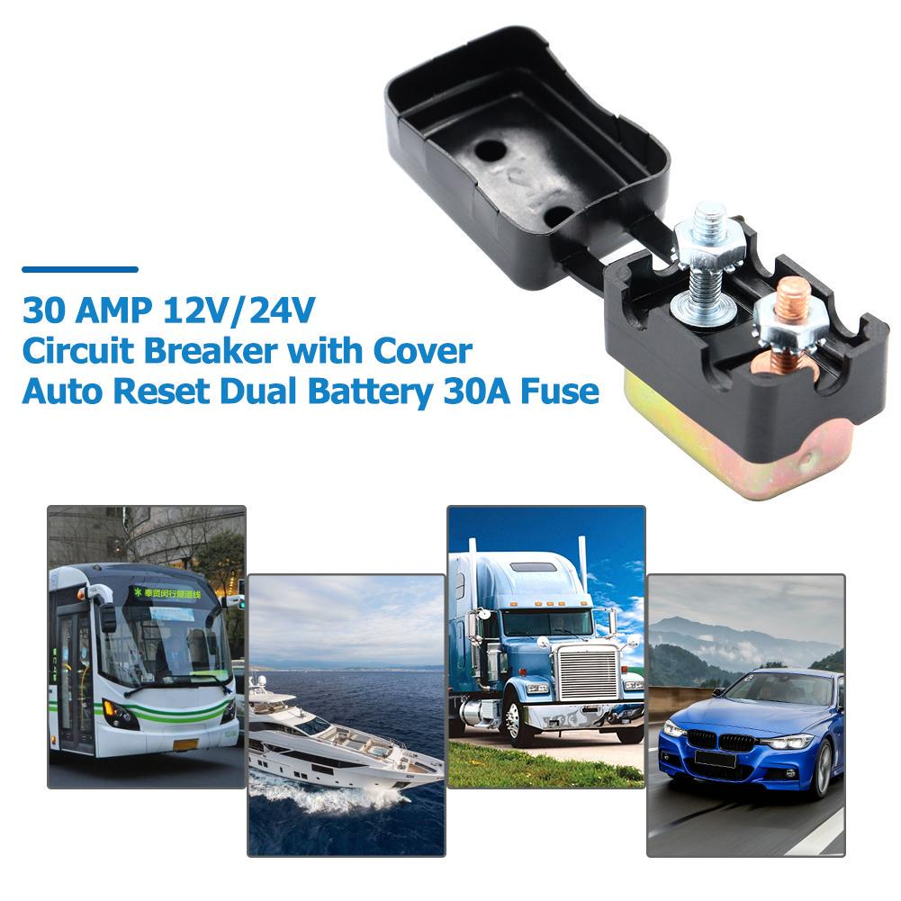 Ampper 30A Automatic Reset Circuit Breaker w// Cover for Automotive 12V//24V 2Pcs