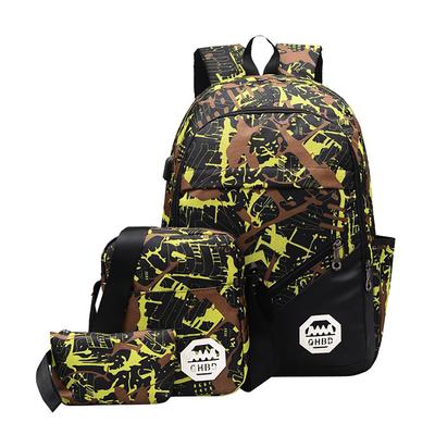 3pcs//set USB Male backpacks camouflage school bags for middle school boys girls