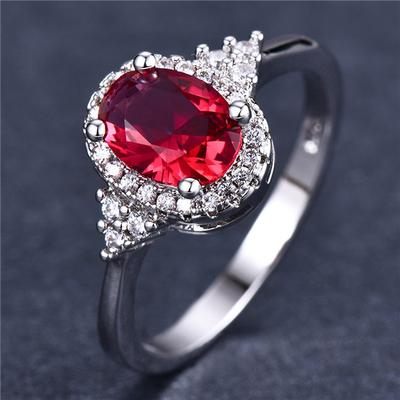 Red Silver plated Crystal Rhinestone Ring Women Ladies Jewelry Gift Size 6-10