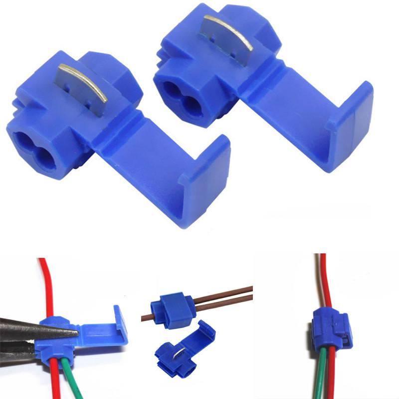 50x Blue Electrical Cable Connectors Quick Splice Lock Wire Terminals Crimp H.JF