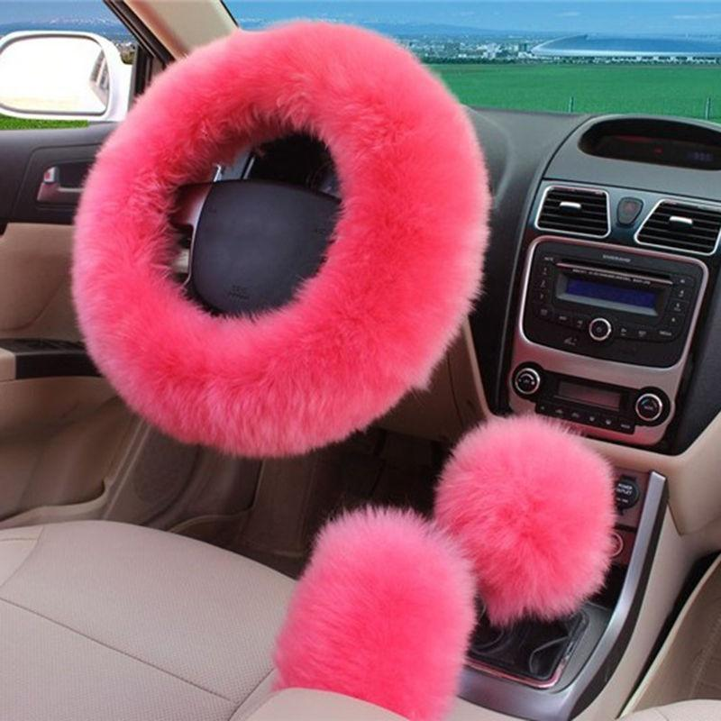 Steering Wheel Cover 15 Fluffy Leopard Yellow Universal