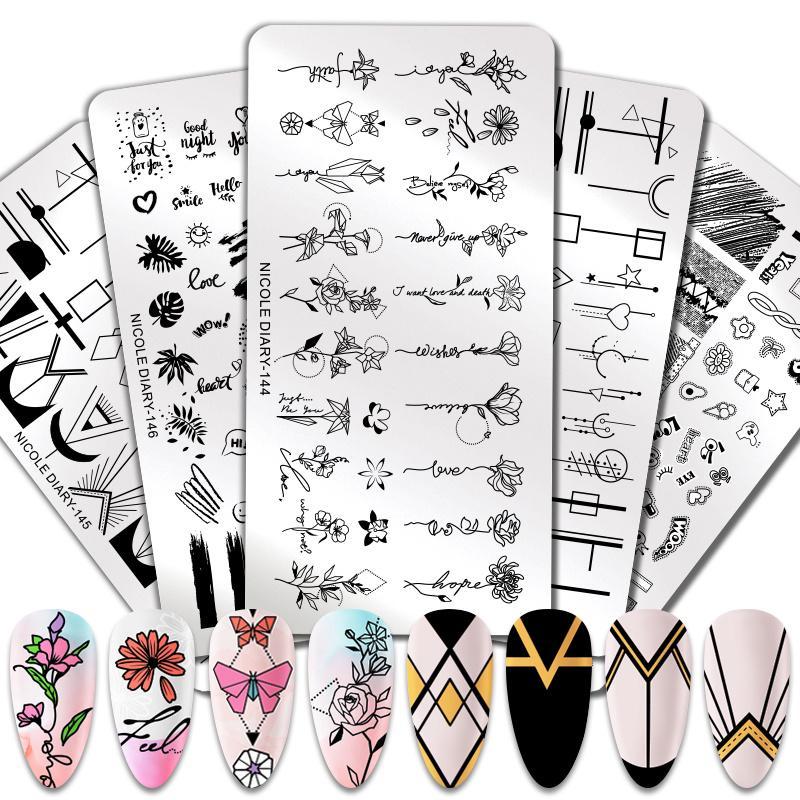 Цветок ногтей штамповки плита Rectangle stainless Steel Liner Ногти Искусство Изображение Штамп Stencils инструмент фото