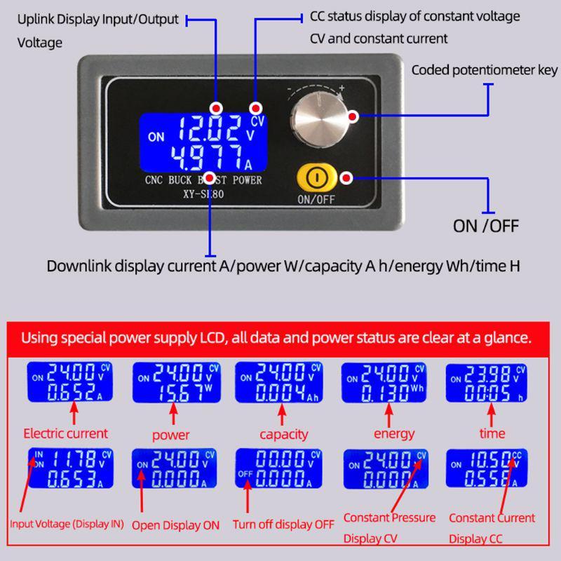 SK80 Регулируемый автоматический понижающий импульсный модуль Постоянное напряжение постоянного тока Регулируемая лабораторная мощность постоянного тока – купить по низким ценам в интернет-магазине Joom