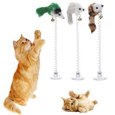 Creative Funny False Mouse Elastic Feather Cat Sucker Pet Toys