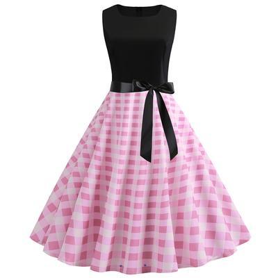 05b52942e08 Женщин старинные 1950-х годов ретро рукавов O шеи печать вечером партии  платье качели