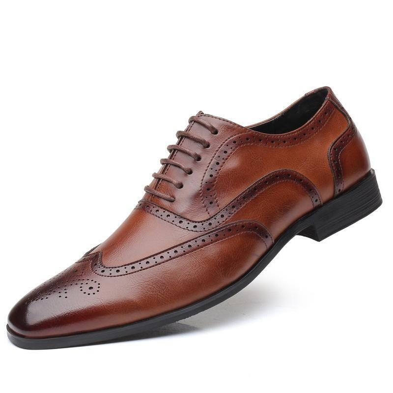 Men 38-48 Formal Brogues Pointed Toe Leather Dress Shoes Low Top Oxfords Lace Up