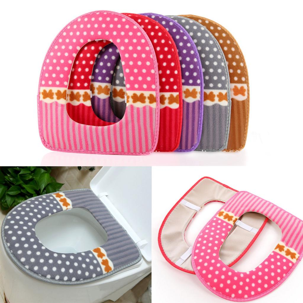 Bathroom Dot Pattern Toilet Seat Cover Closestool Washable  Warmer Mat Cushion