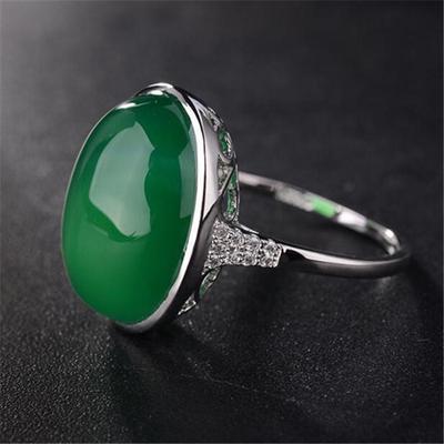 af300d2da2f8 Vintage verde claro dama Color del Rhinestone boda Color plata anillos
