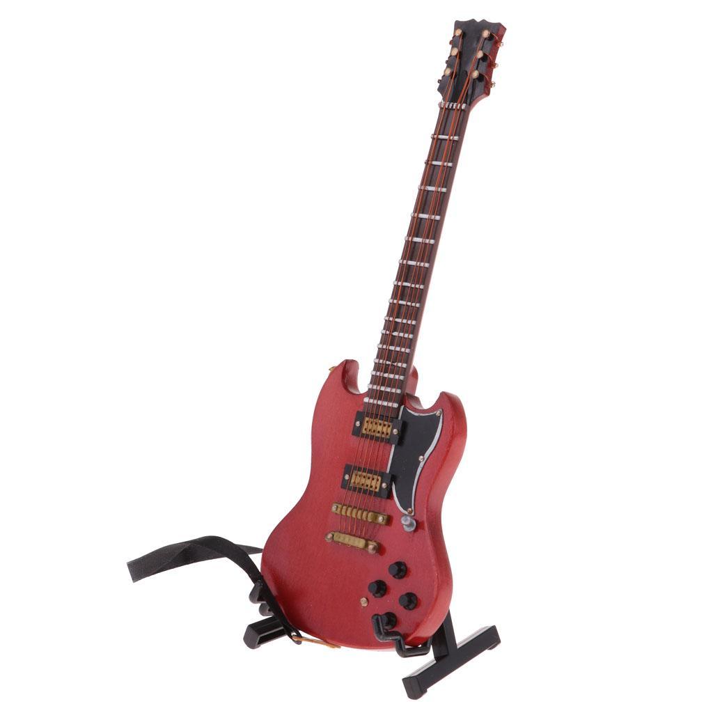 Dollhouse Miniature Music Instrument Decor Wooden Guitar /& Copper Drum Set