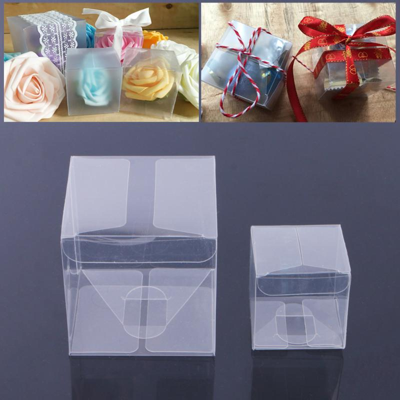 New 8x8x8cm High Quality Plastic Protect Clear Cube PVC Wedding Gift Cake Boxes