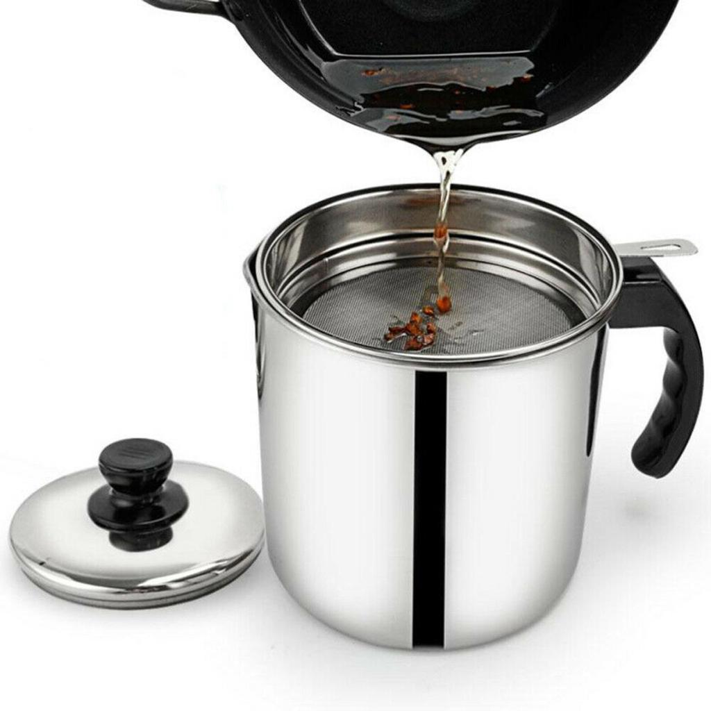 DOTU Oil Strainer Pot Grease Can 3 in 1 Kitchen Stainless Steel Oil Filter Strainer Colander Reuse Fry Oil Can Pot Home