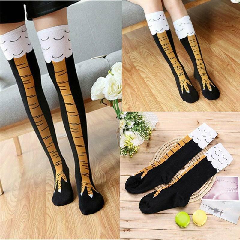 Funny 3D Chicken High Socks Cartoon Animals Thigh Stockings Xmas Gift Womens Men