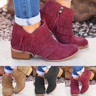 Womens Rome Solid Large Size Zipper Fringe Med Heels Short Boots Shoes