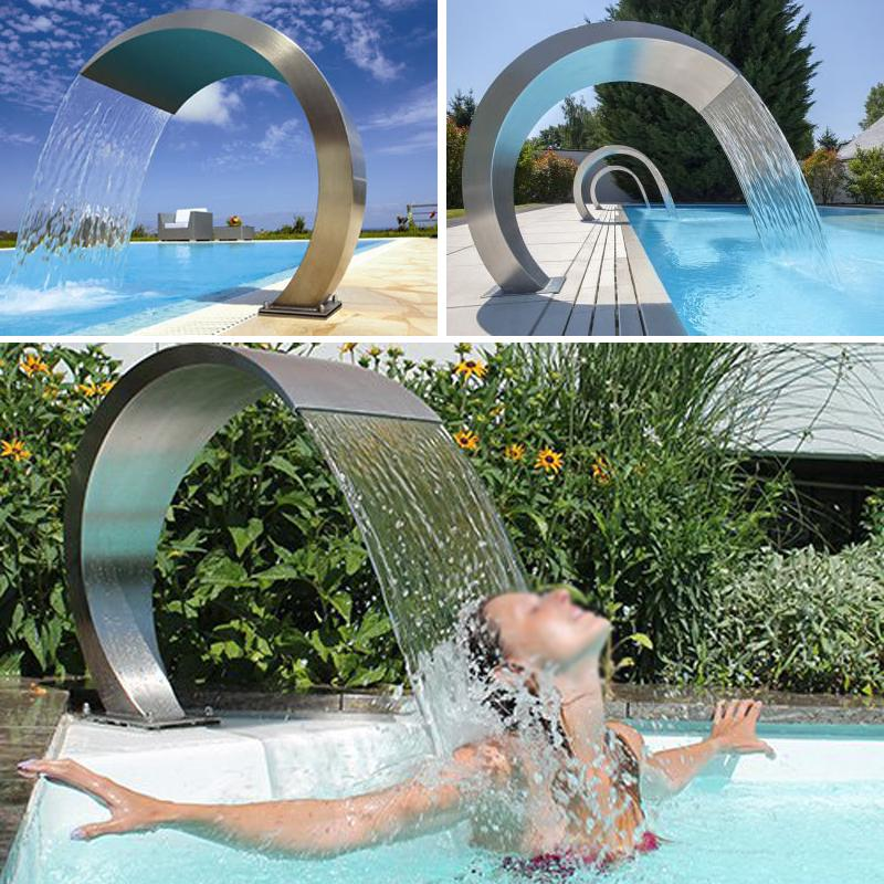 Stainless Steel Rectangular Pool Waterfall Garden Outdoor Pond Fountain Water Spillway 17.7 x 4.5 x 3.1 Silver Keenso Pool Fountain