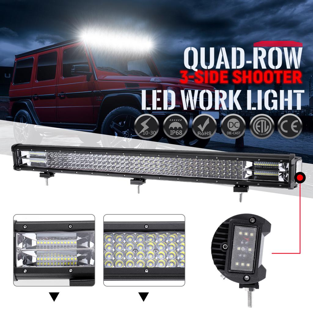 2X 9inch 30W Single Row LED Light Bar 5D Optical Offroad Fits Jeep SUV Truck 4WD