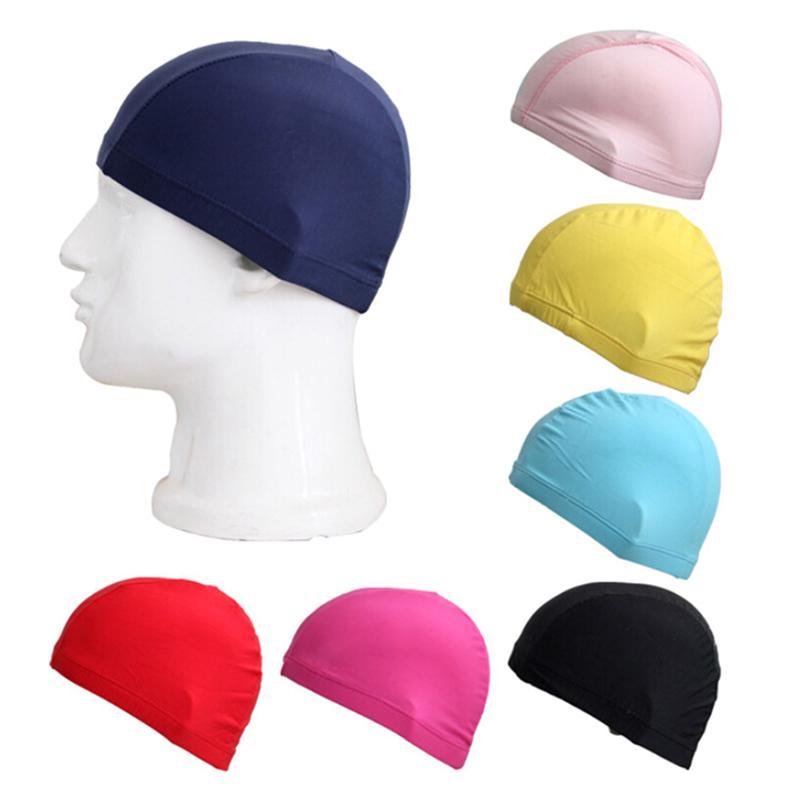 Beach style Adult Bathing Caps Fabric Protect Ears Swim Hat Pool Swimming Cap