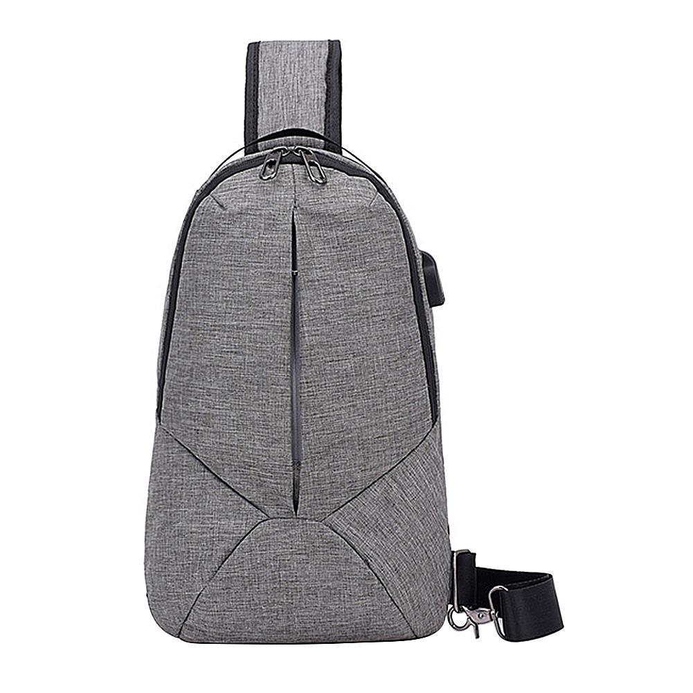 Mens Canvas Shoulder Bags USB Theftproof Travel Crossbody Casual Chest Bag Packs