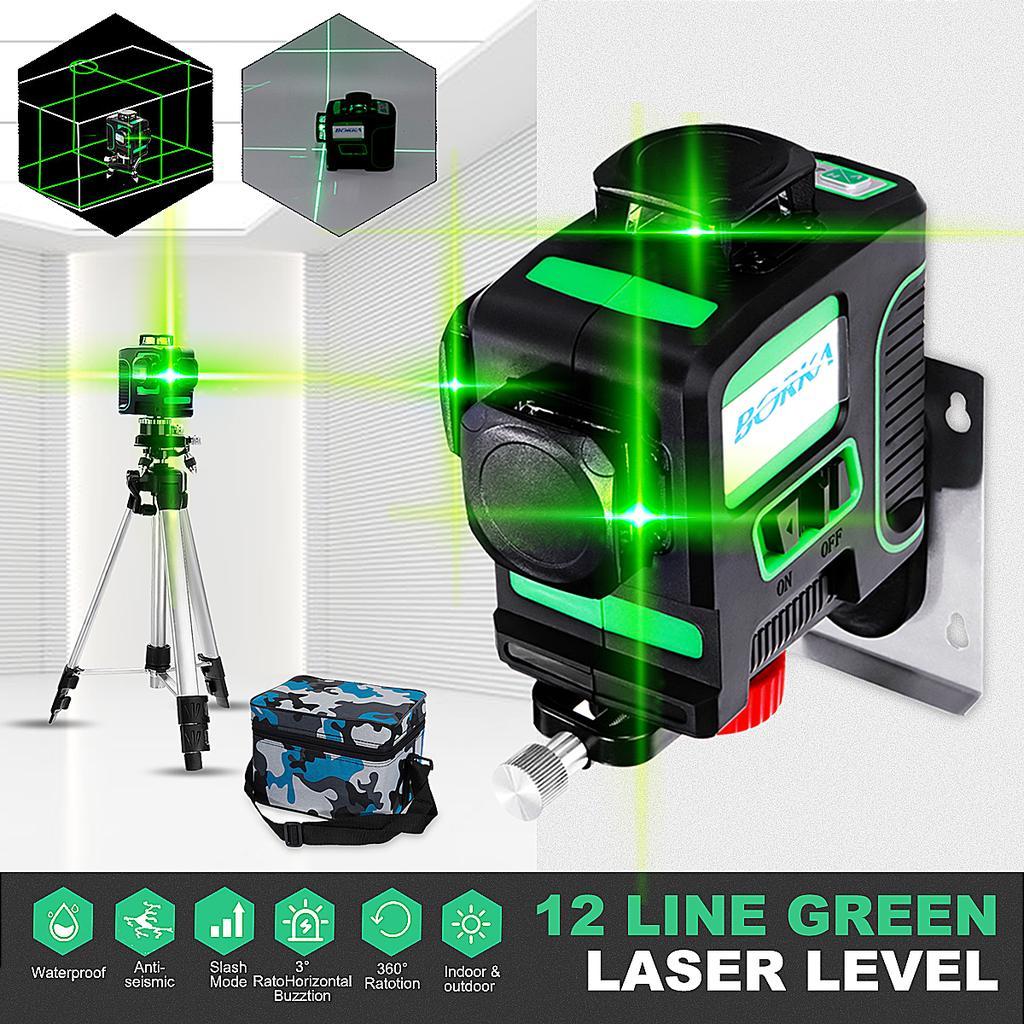 Auto 360° Degree 12 Line Laser Level 3D Waterproof Self-Leveling Measure Tool