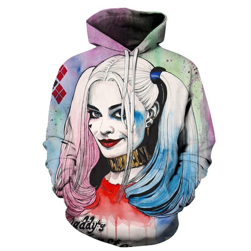 3D Print Men Hoodie Sweater Sweatshirt  Funny Harley Quinn  Jacket Pullover Tops