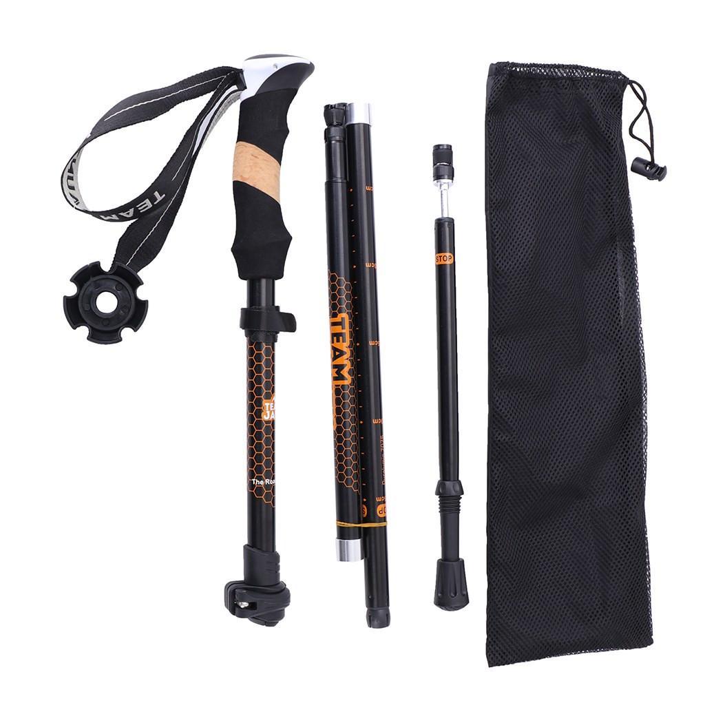 Foldable Trekking Walking Hiking Sticks Alpenstock Anti-Shock Poles T2D3