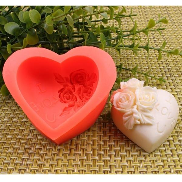 3D爱心玫瑰花硅胶模具蛋糕装饰SUGARCRAFT CUPCAKE模具