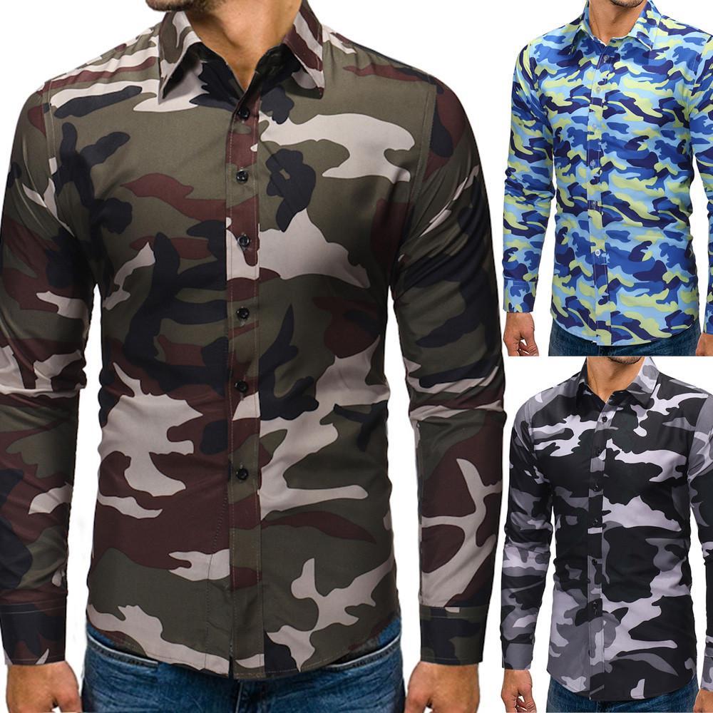 Мужчины осень зима камуфляж случайные футболки с длинным рукавом рубашки Топ блузка – купить по низким ценам в интернет-магазине Joom