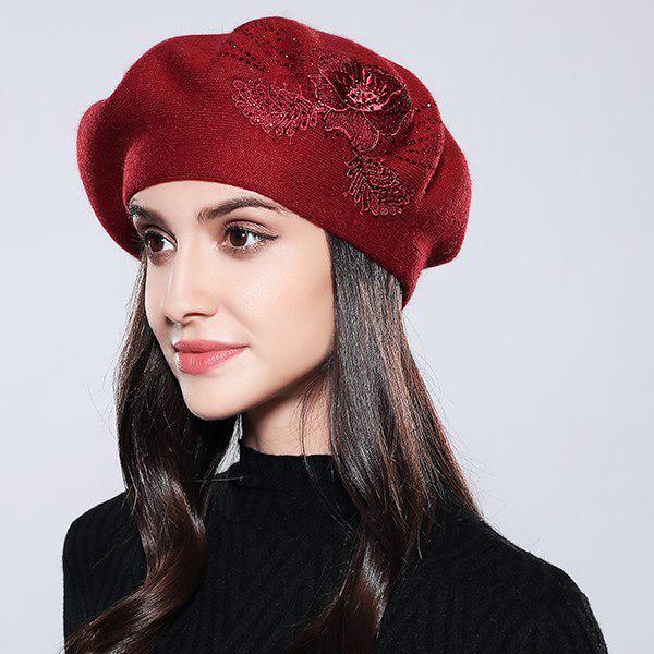 Bonete lana mujer boina algodón Femme marca moda flor otoño invierno ... 3306248c3b0