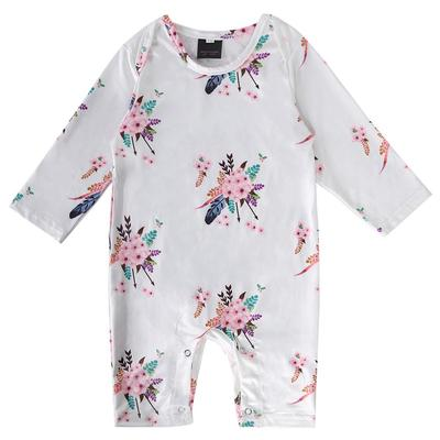 Voberry Infant Baby Girls Lace Flower Long Sleeve Romper Bodysuit with Cap