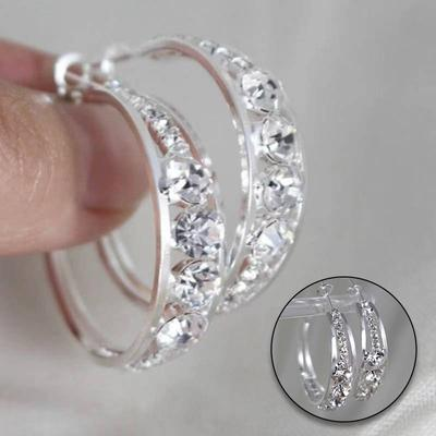 1Pair Luxury Ladies Jewelry Circle Hoop Rhinestone Party Gift Round Earrings Women Accessories